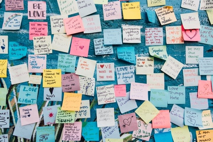 Dozens of colored post-its with inscriptions