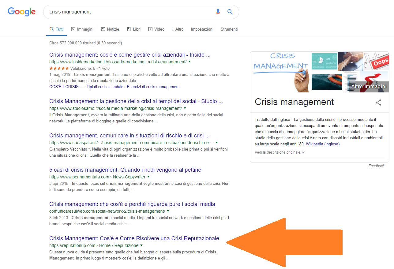INFOGRAFICA 10 crisis management in sesta posizione su Google