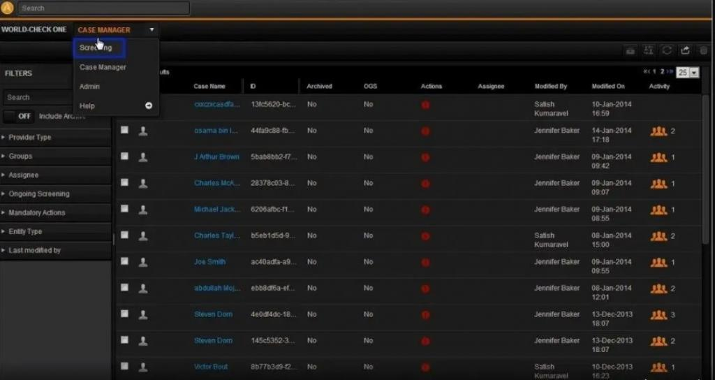 Dentro de World Check One screening database