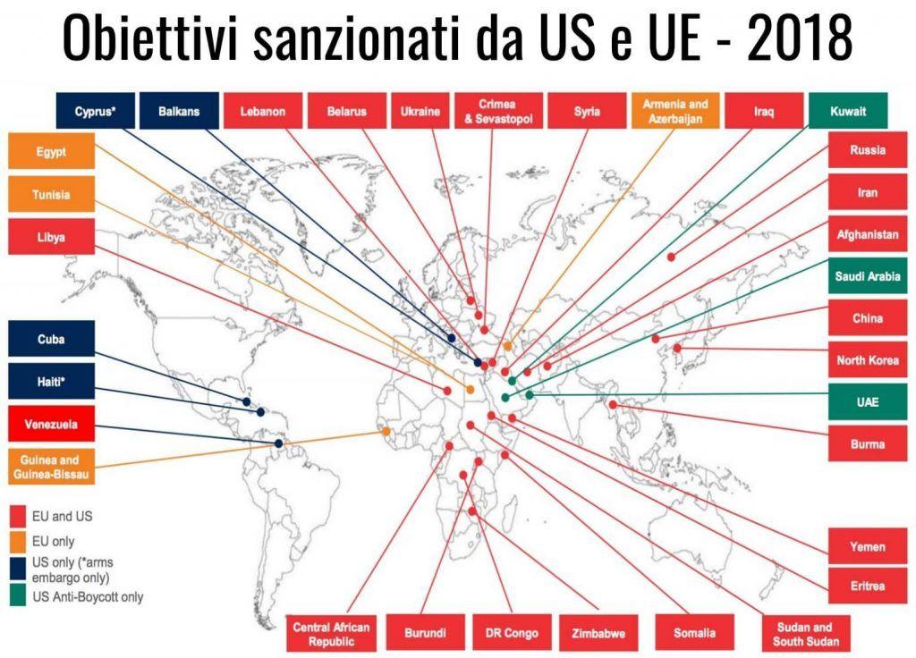 Obiettivi sanzionati da US e UE 2018