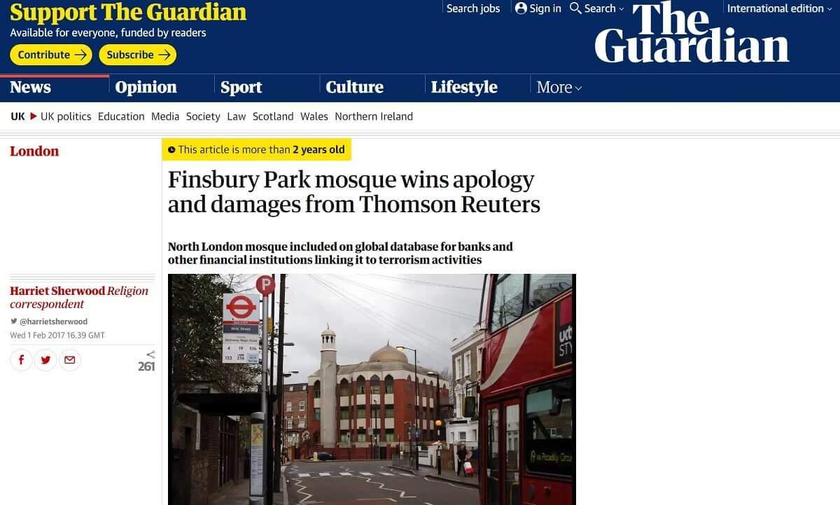 moschea finsbury park vince contro thomson reuters