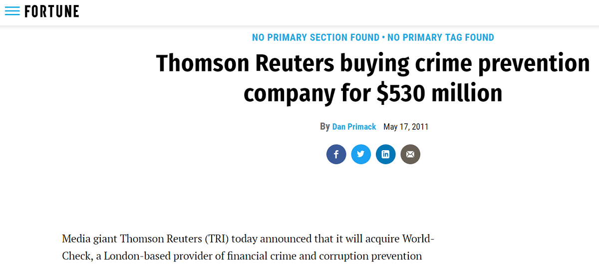 thomposn reuters compra world check per 530 milioni di dollari