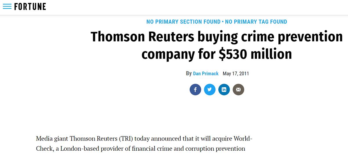 thomposn reuters compra world check per 530 milioni di dollari