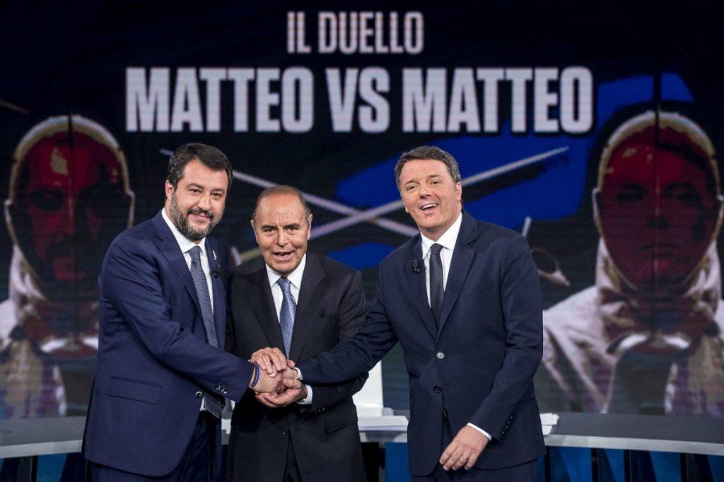 Matteo Salvini, Bruno Vespa e Matteo Renzi nello studio di Porta a Porta