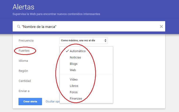 alertas de google no monitorea redes sociales