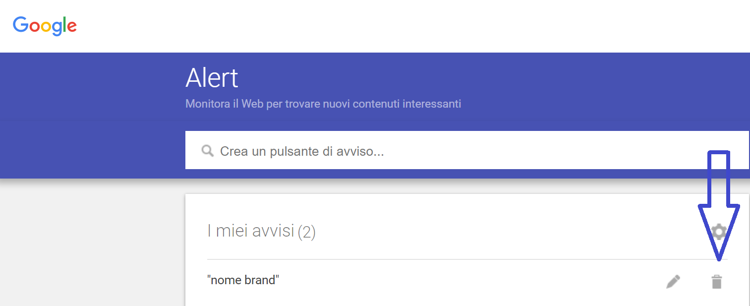 screenshot google alert disattiva alert