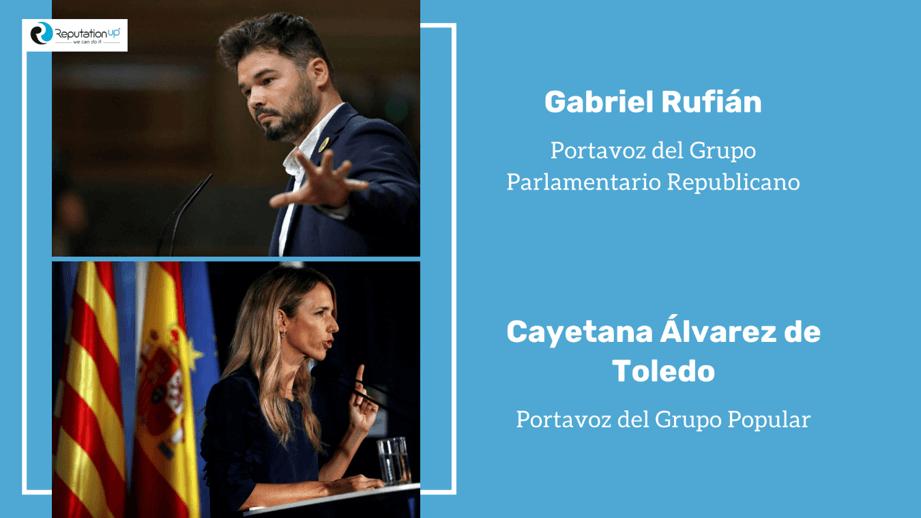 Rufián vs Álvarez de Toledo ReputationUp revela su posicionamiento online