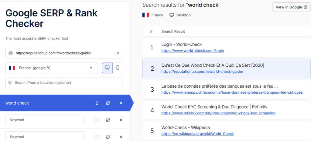 premiere page google world check reputationup france