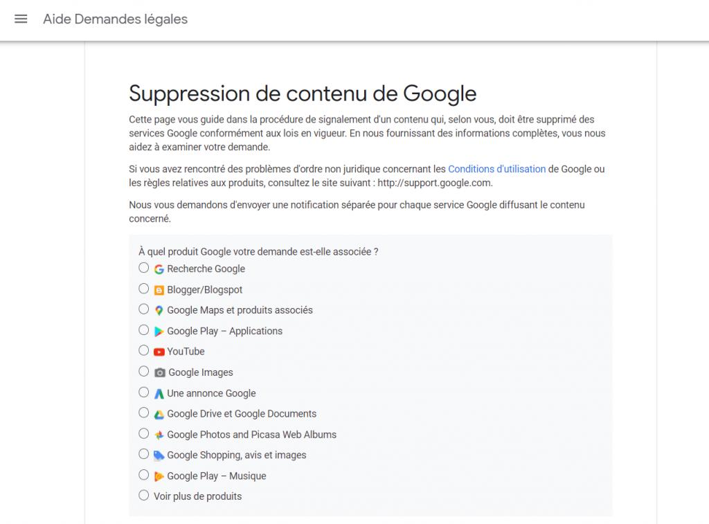 sélectionnez le service google pour la demande d'oubli