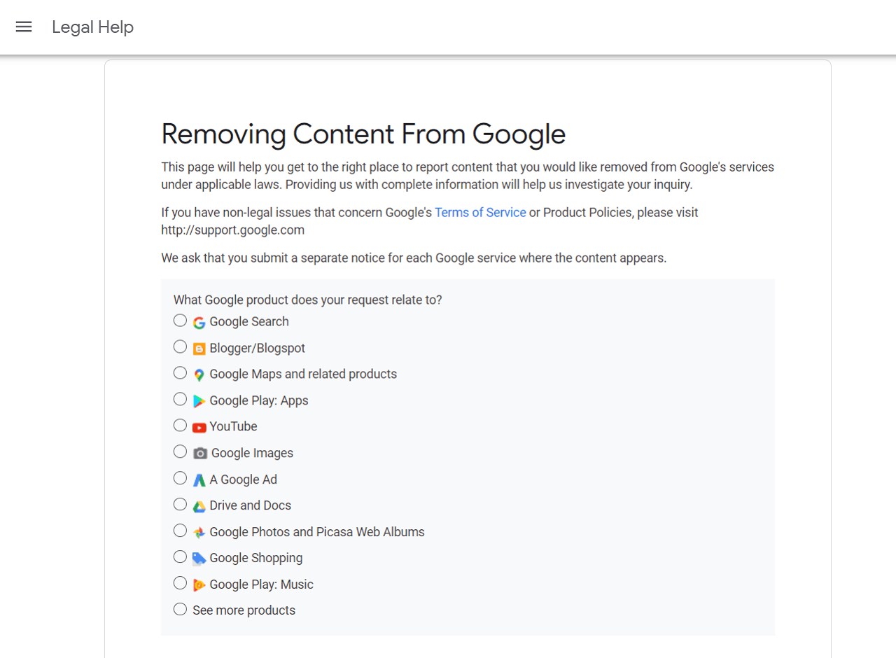 select the google service for the right to be forgotten request