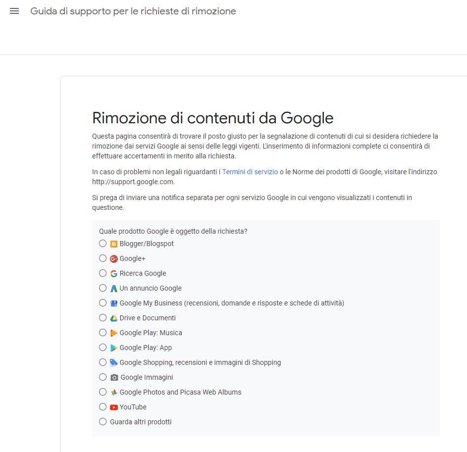 seleziona il servizio google per la richiesta di oblio