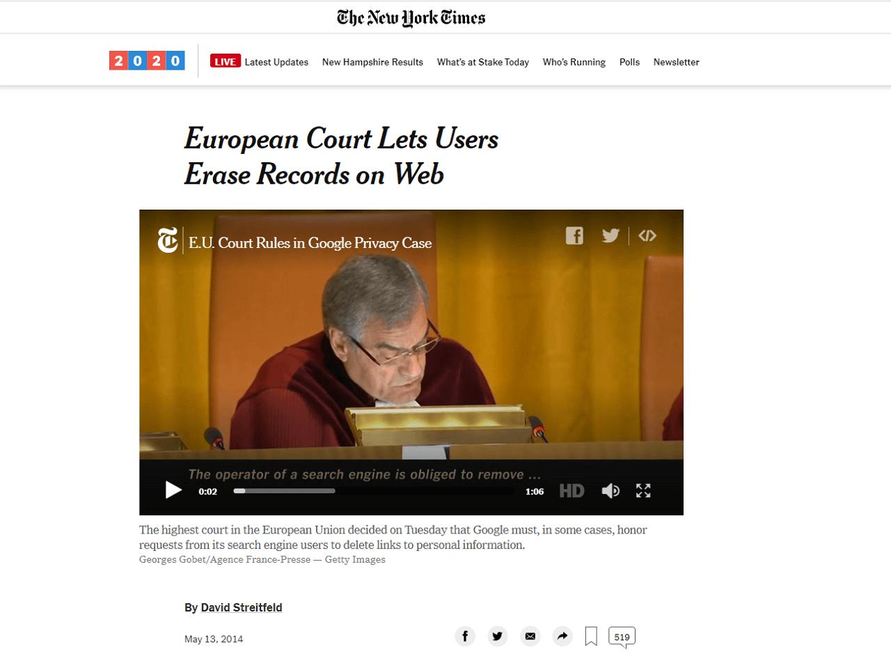 Artigo do New York Times após a decisão do Google vs AEPD em 13 de maio de 2014