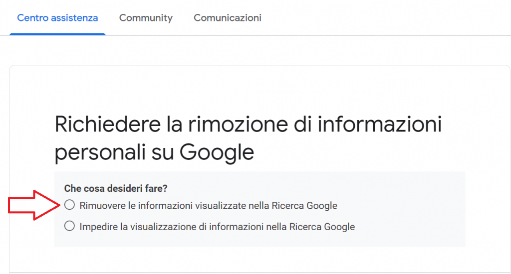 Come rimuovere informazioni personali da Google