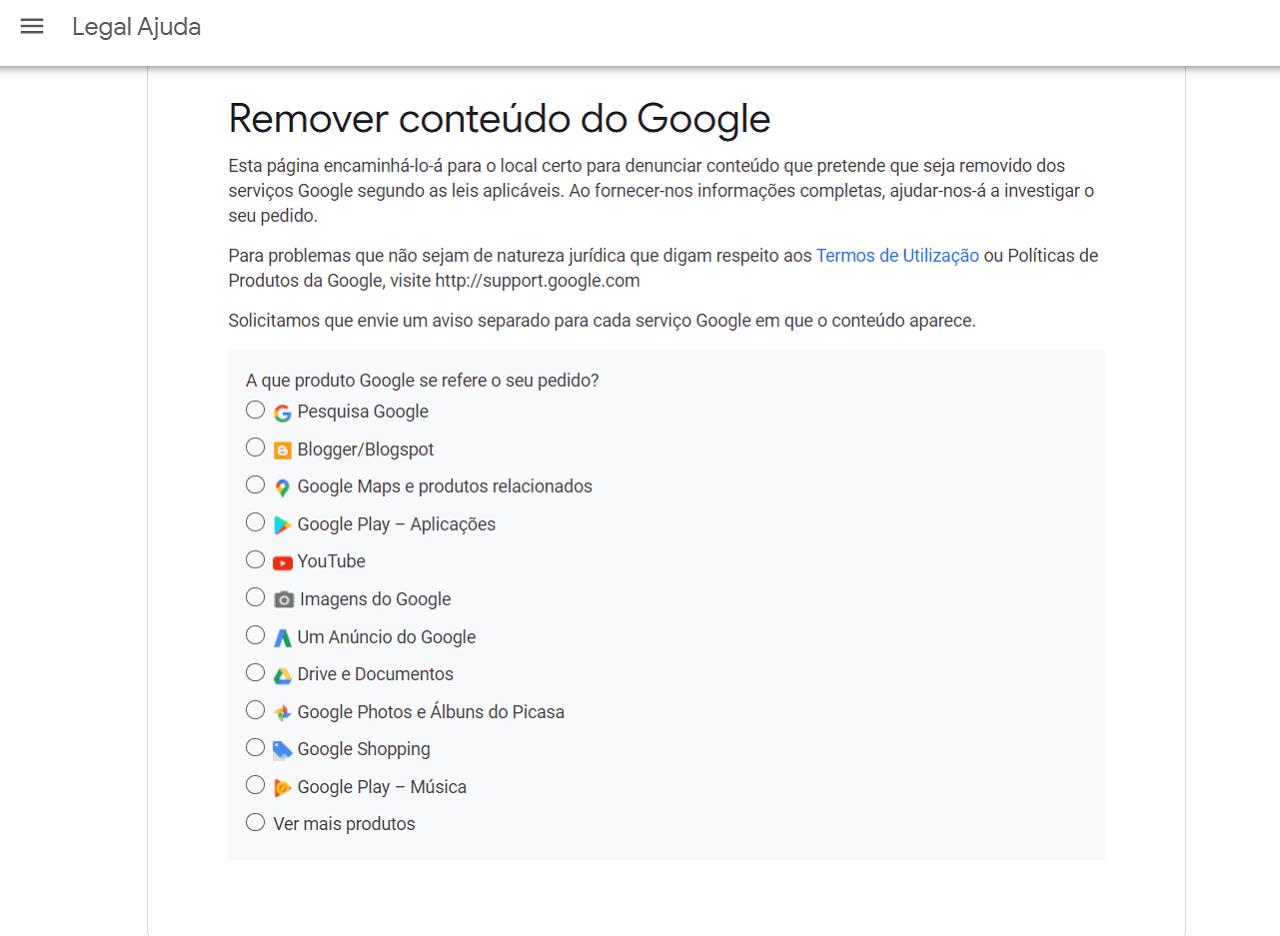 Remover conteúdo do Google
