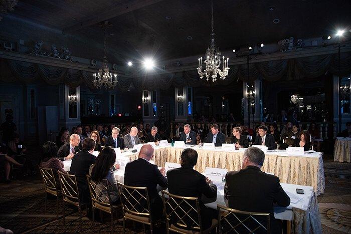 Un momento del dibattito durante Event 201