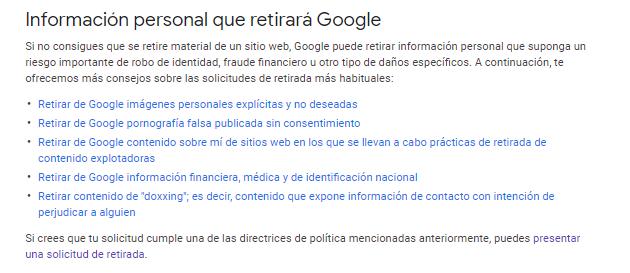 informacion personal desindexacion google reputationup 2020