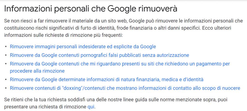 linee guida di Google per la rimozione di informazioni personali