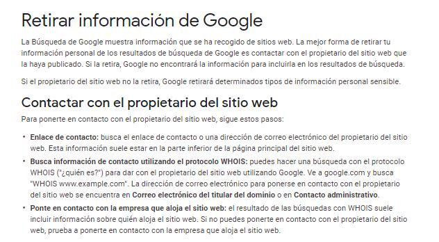 retirar informacion desindexacion google reputationup 2020