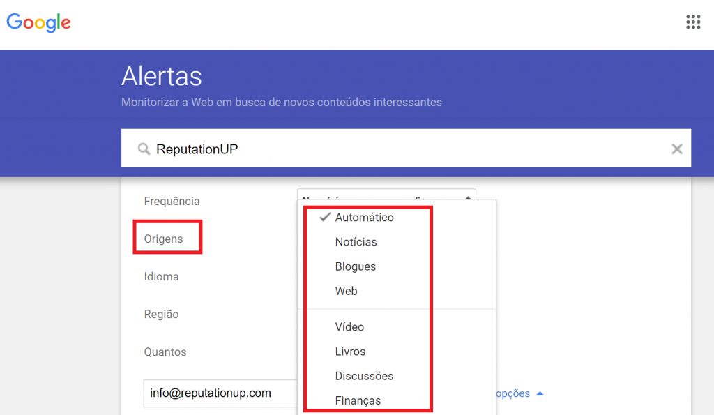 Como configurar o Alertas do Google reputation up