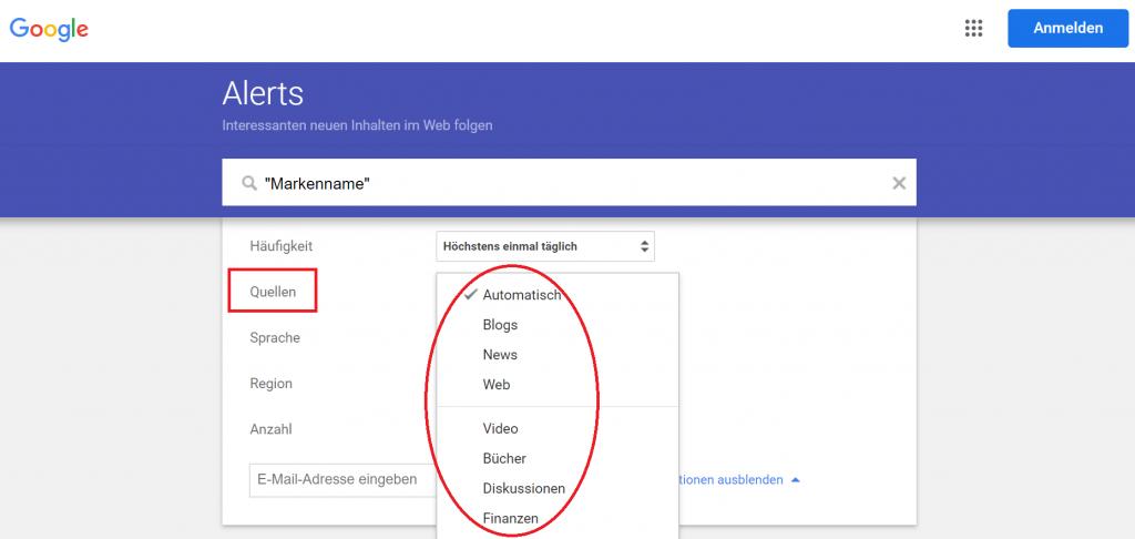 Google Alerts einstellen reputationup