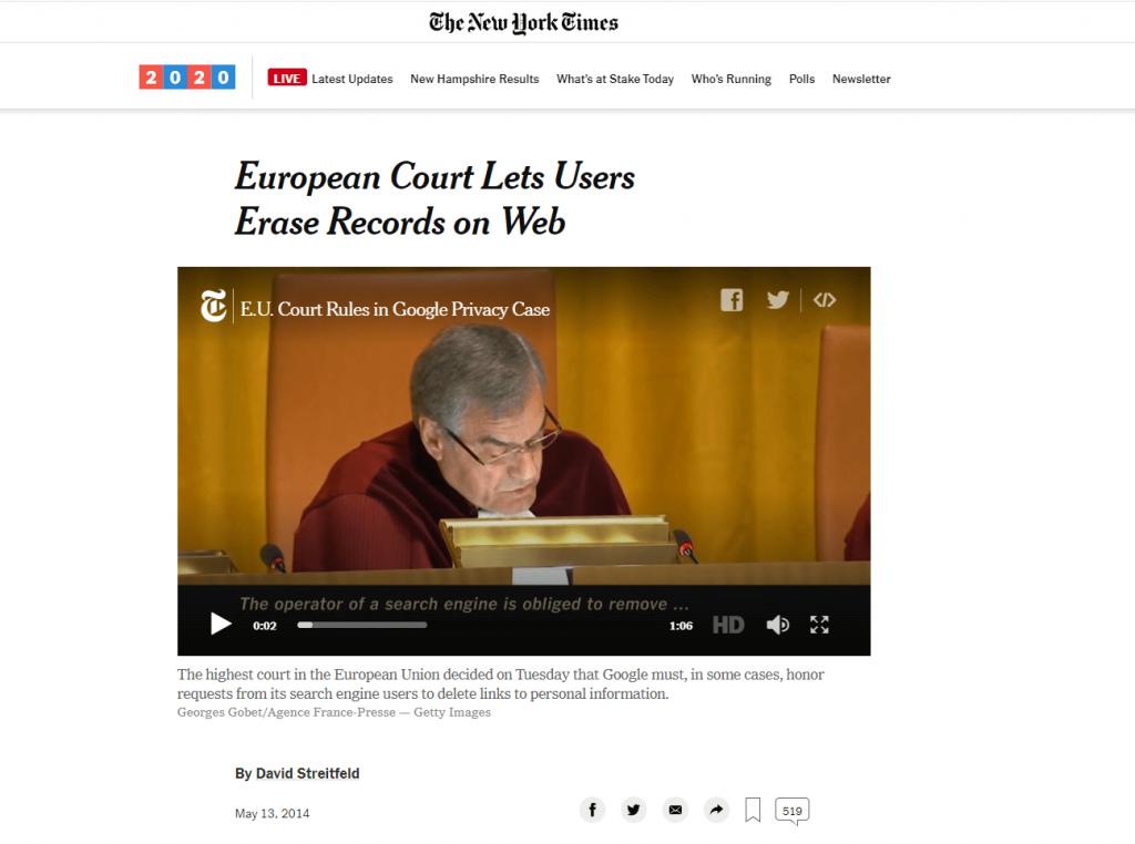 droit à l'oubli arrêt Court de Justice Européenne 13 mai 2014  Google vs AEPD
