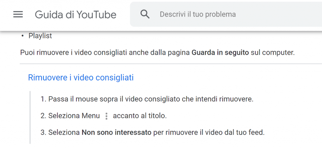 Cancellare video consigliati di Youtube