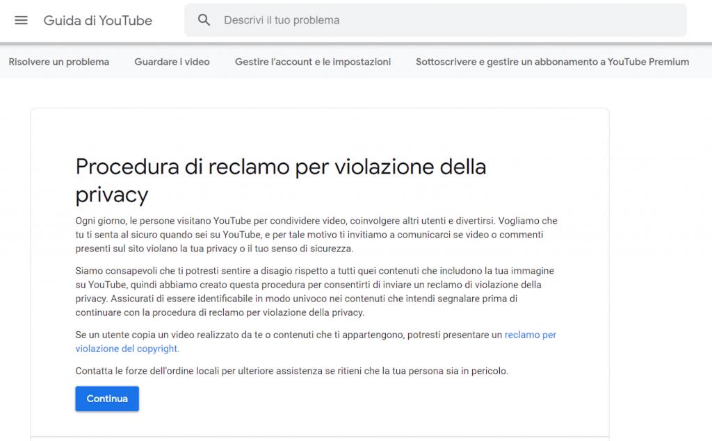 Come rimuovere video da Youtube procedura di reclamo