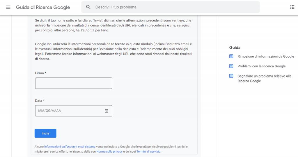 come inviare la richiesta per rimozione di informazioni da google