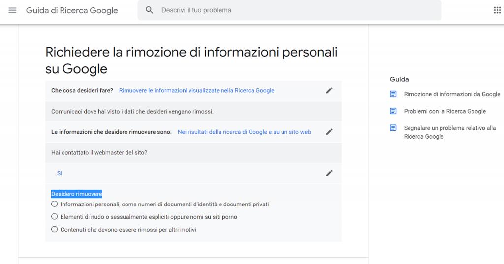 come richiedere la rimozione di informazioni personali da google