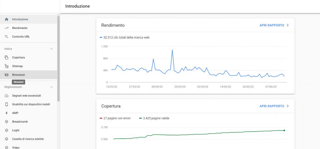 come rimuovere url da google con google search console