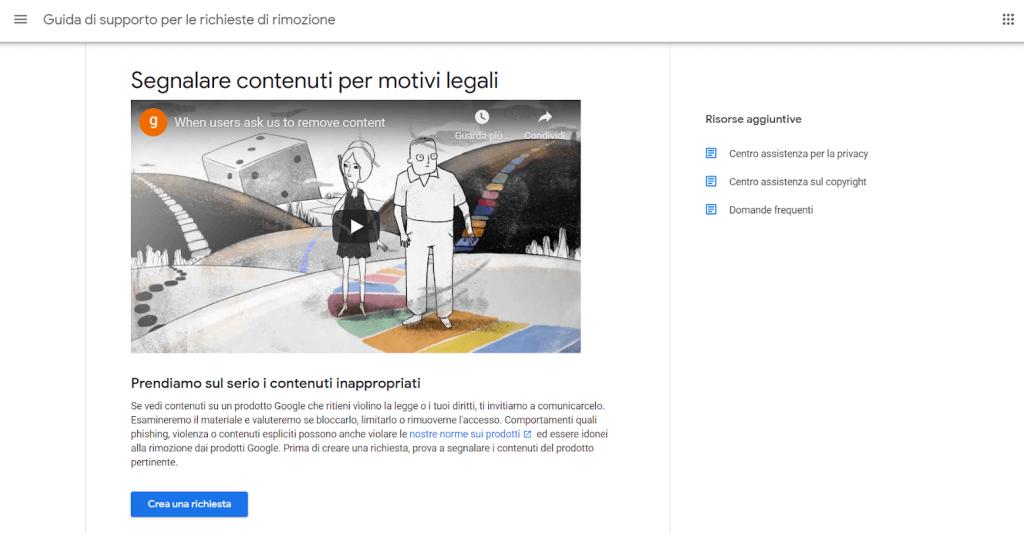 come segnalare a google contenuti per motivi legali