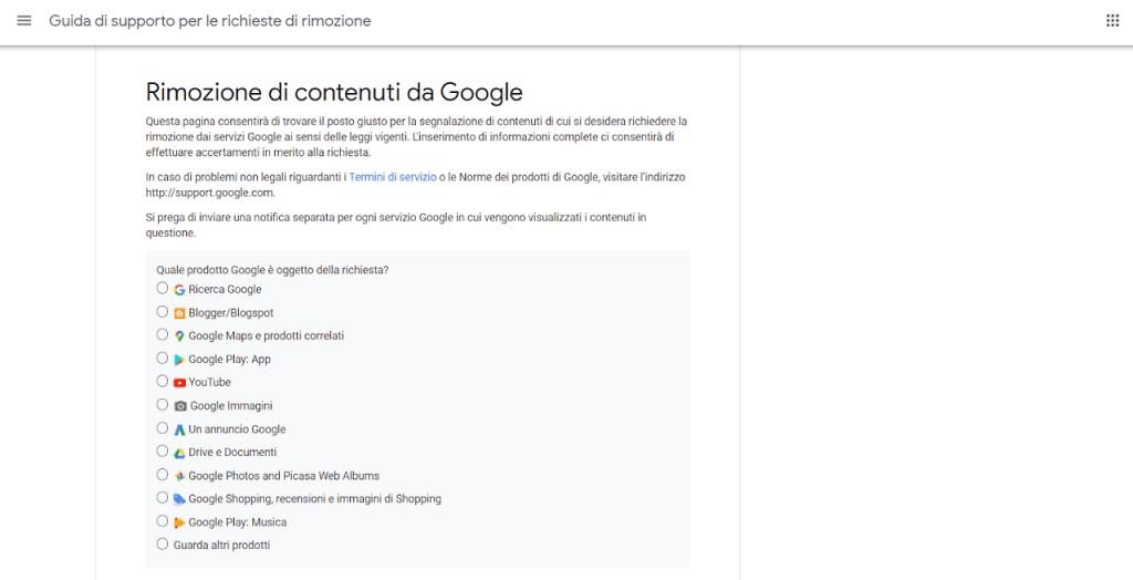 rimozione di contenuti da google