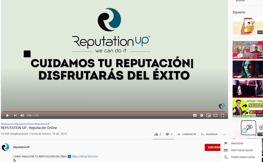 Cómo eliminar un vídeo de Youtube 2020. Denunciar en Youtube. Fotografía. ReputationUp