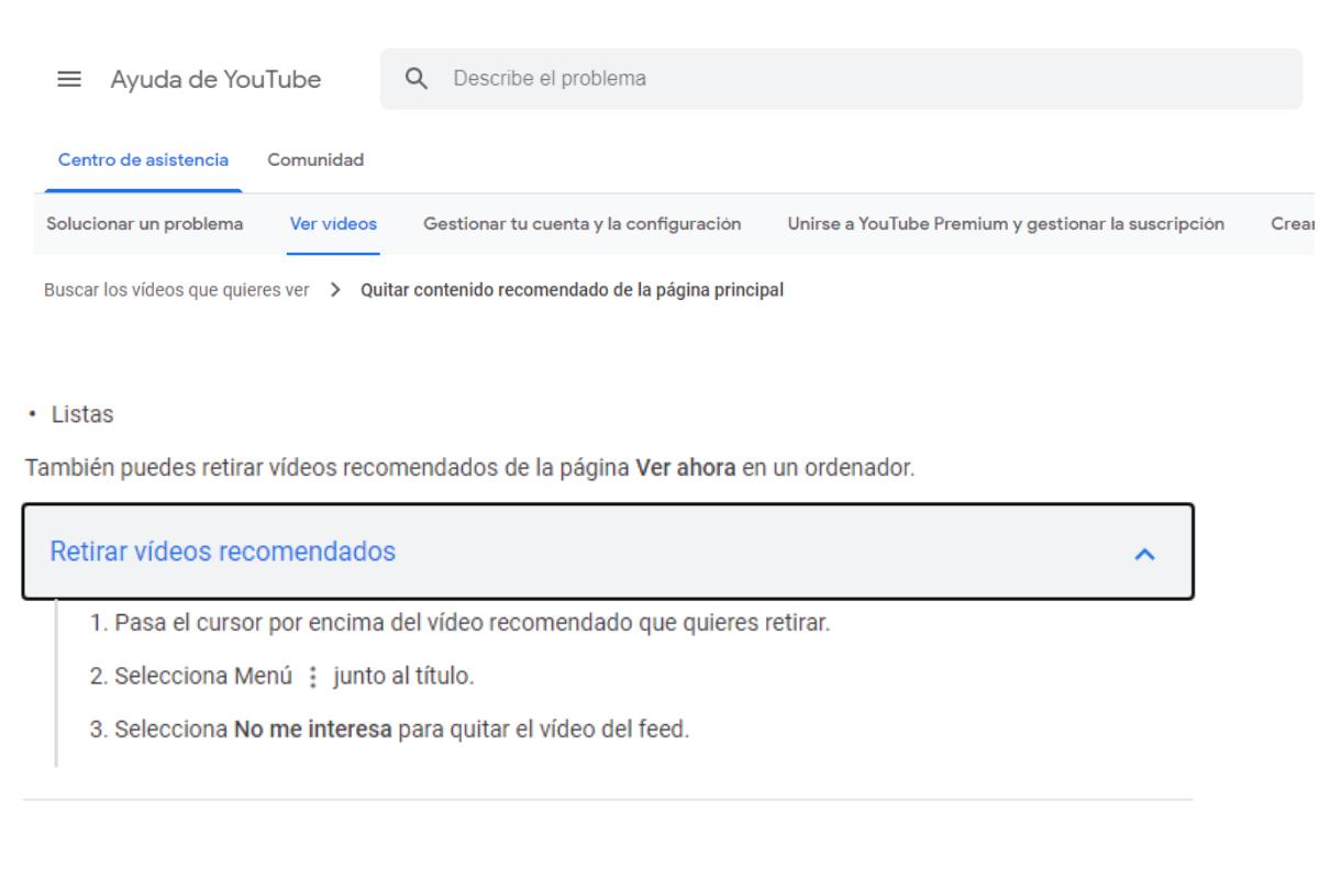 Cómo eliminar Vídeos recomendados YouTube . Fotografía. ReputationUp