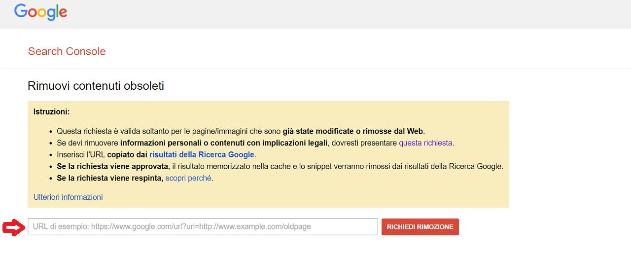 come fare Rimozione URL obsoleti