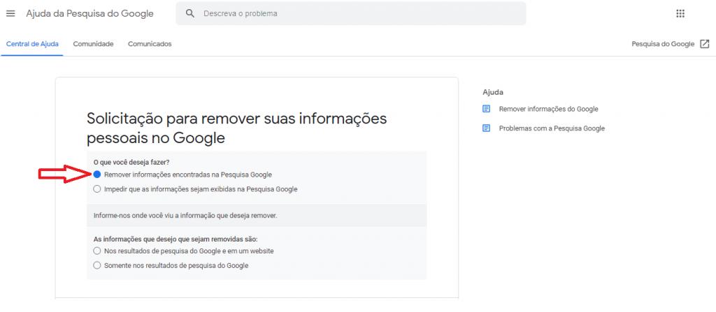 Como remover informações pessoais do Google guia reputationup