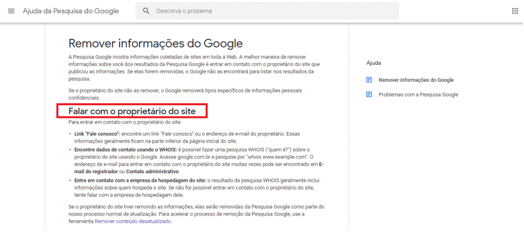 remover informações pessoais do google guia reputationup