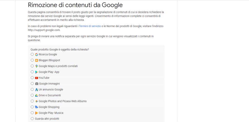 rimozione di immagini e contenuti da google guida reputationup