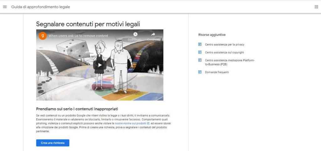 segnalare contenuti per motivi legali google guida reputationup