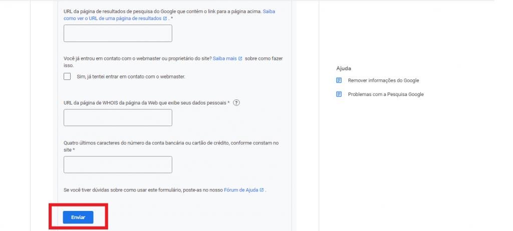 solicitação de remoção para o Google guia reputationup
