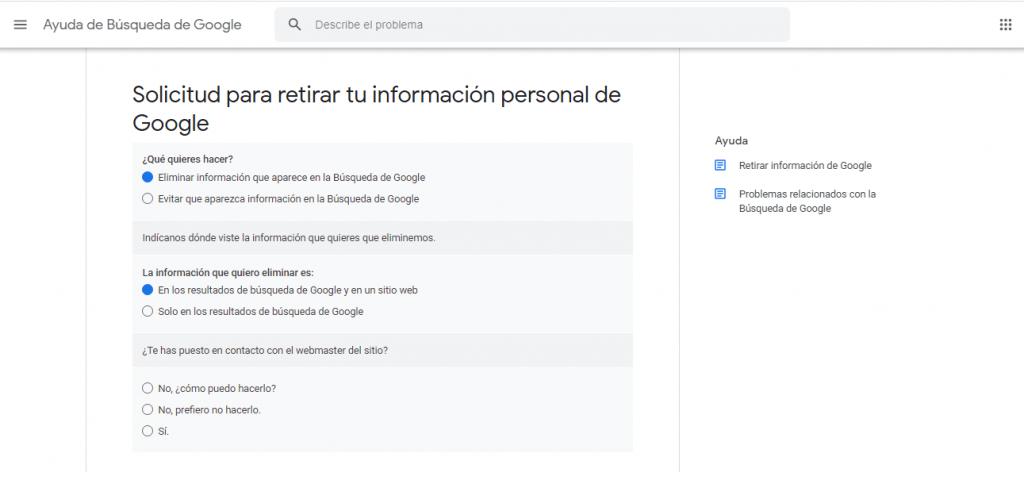 solicitud para retirar informacion personal de google guia reputationup