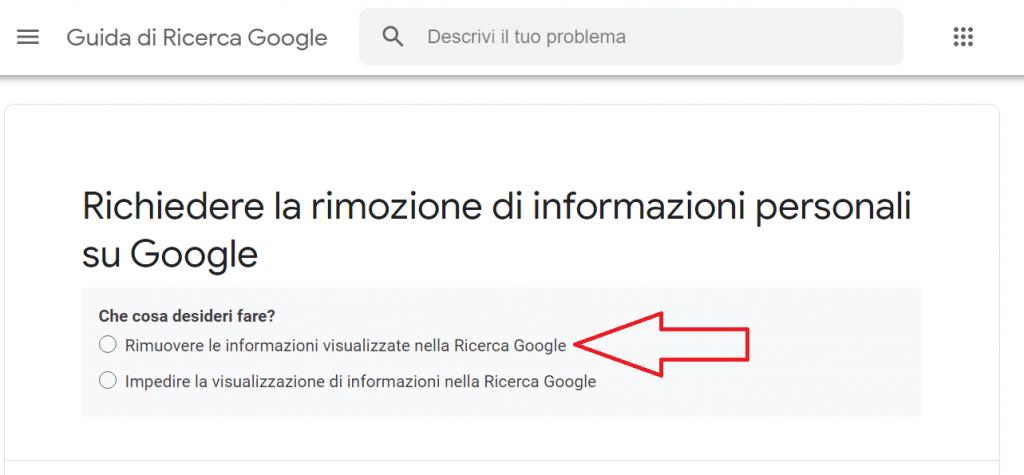 Come faccio a rimuovere le mie informazioni personali da Google reputationup