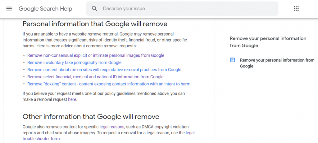 How to remove images from Google