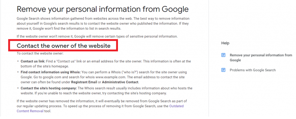How to remove your personal information from Google reutationup De Indexing Google
