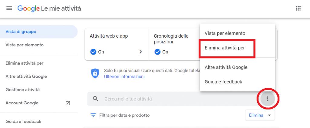 cancellare le tue attivita da Google reputationup