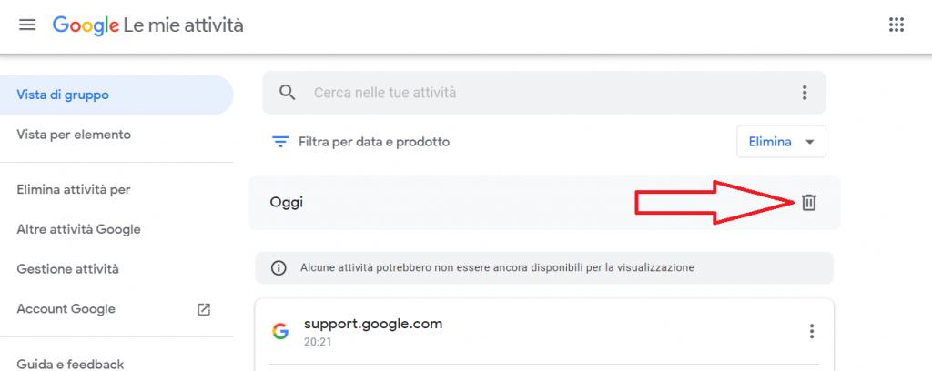 come cancellare le tue attivita da Google reputationup
