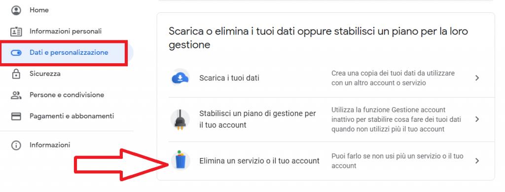 eliminare il tuo account google reputationup