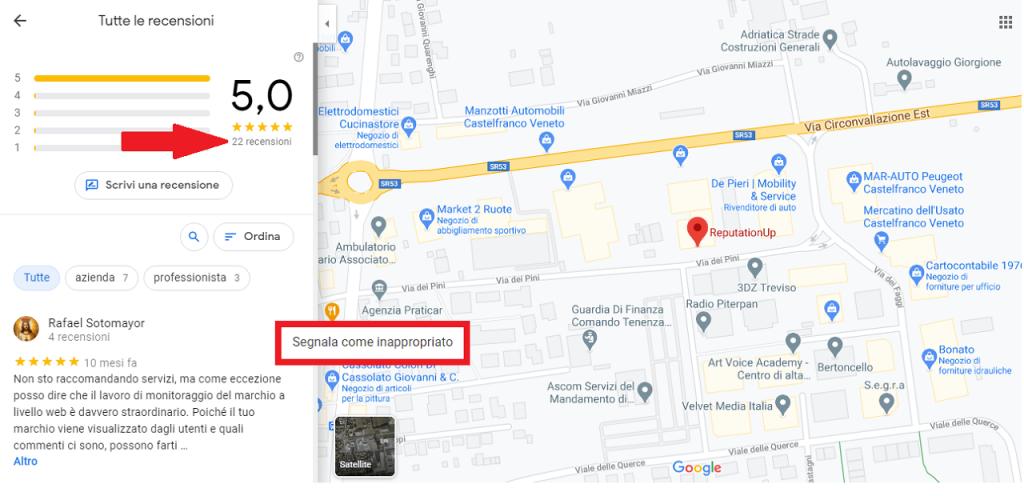 Come segnalare una recensione falsa a Google maps guida reputationup