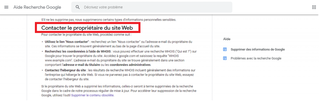 Comment supprimer des URL de Google guida contacter reputationup