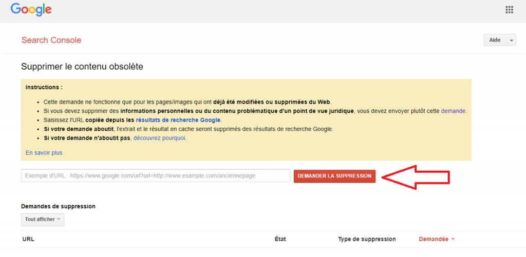 Comment supprimer des URL de Google guida reputationup